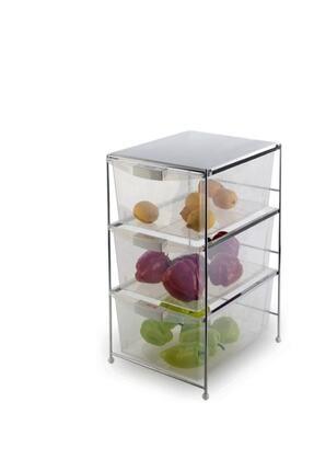 Evistro Paslanmaz Çelik 3 Katlı Meyvelik Sebzelik Plastik Çekmeceli