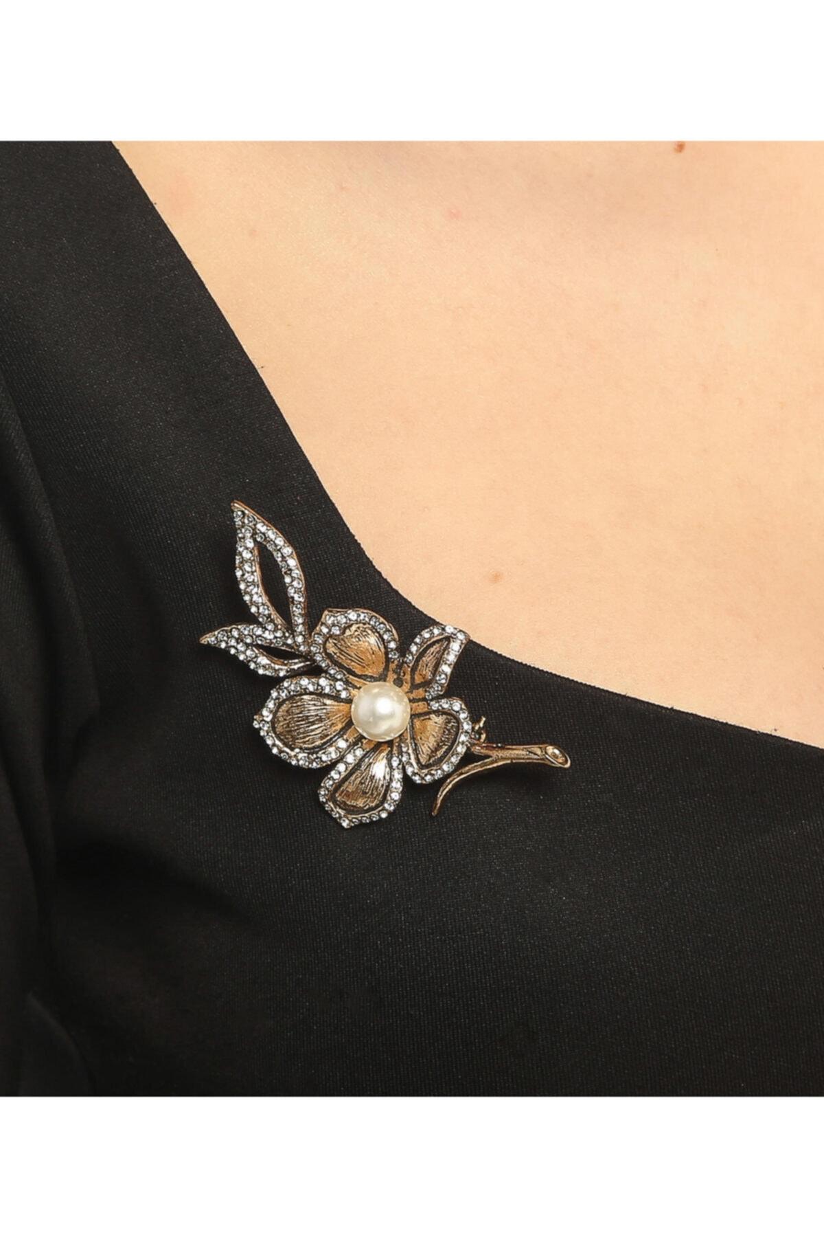Aşina Gümüş Kadın Altın Çiçek Figürlü Taşlı Broş 1