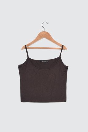 TRENDYOLMİLLA Kahverengi Askılı Crop Örme Atlet TWOSS21AL0062