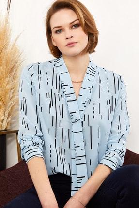 Olalook Kadın Mavi Yaka Detaylı Krep Bluz BLZ-19001312