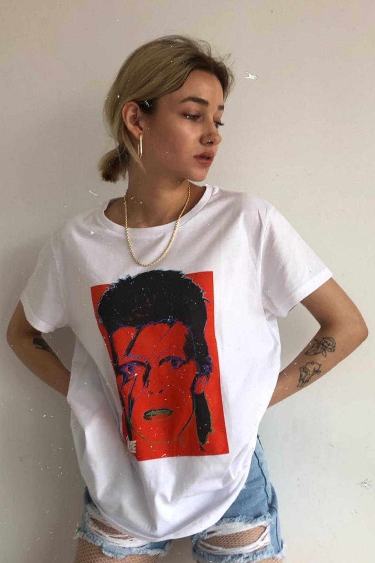 Eka 0709-1295 David Bowie Baskılı Bisiklet Yaka T-shirt 2