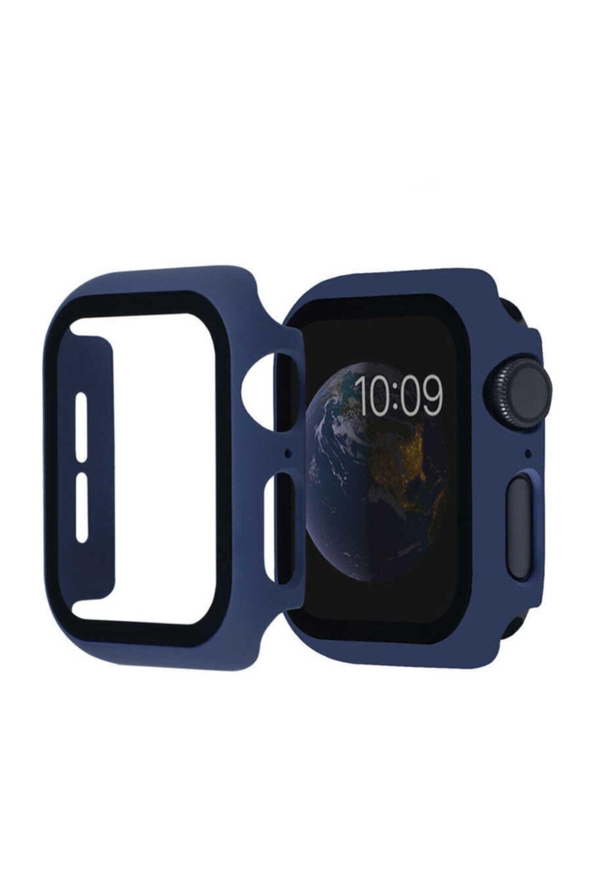 KVK PRİVACY Lacivert Apple Watch 1 2 3 4 5 6 Se Uyumlu 42mm Tam Koruma Silikon Kılıf 1