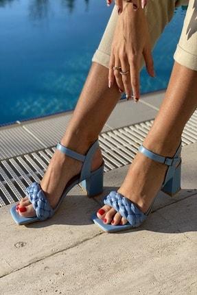 İnan Ayakkabı Kadın  Mavi Küt Burun Örgü Tek Bant Topuklu Ayakkabı