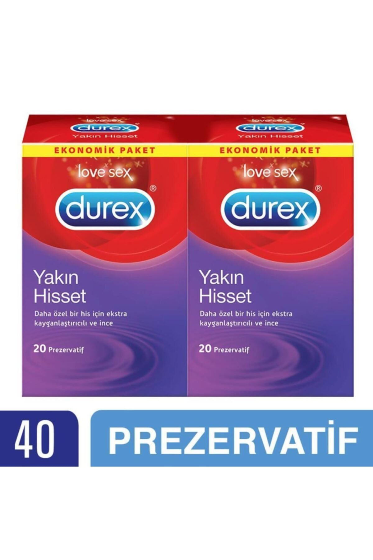 Durex Yakın Hisset Prezervatif, 40'lı Ekonomik Avantaj Paket 1
