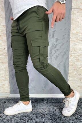 VİP LOKAL Erkek Haki Slim Fit Kargo Cep Likralı Pantolon