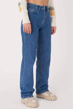 Addax Kadın Kot Rengi Yüksek Bel Jean Pantolon Pn7069 - Pnc Adx-0000023640