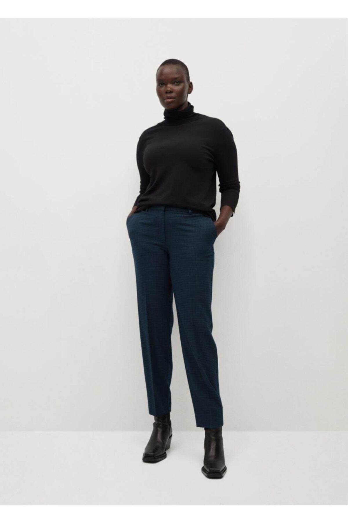 Violeta by MANGO Kadın Yeşil Dar Kesimli Takım Pantolon 2
