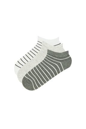Penti Kadın Çok Renkli Cızgılı 3lü Patik Çorap