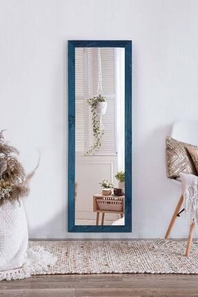 bluecape Doğal Ağaç  Mavi Paris Dekor Raflı El Yapımı Salon Ofis Mutfak Duvar Konsol Boy Ayna 120x40 Cm