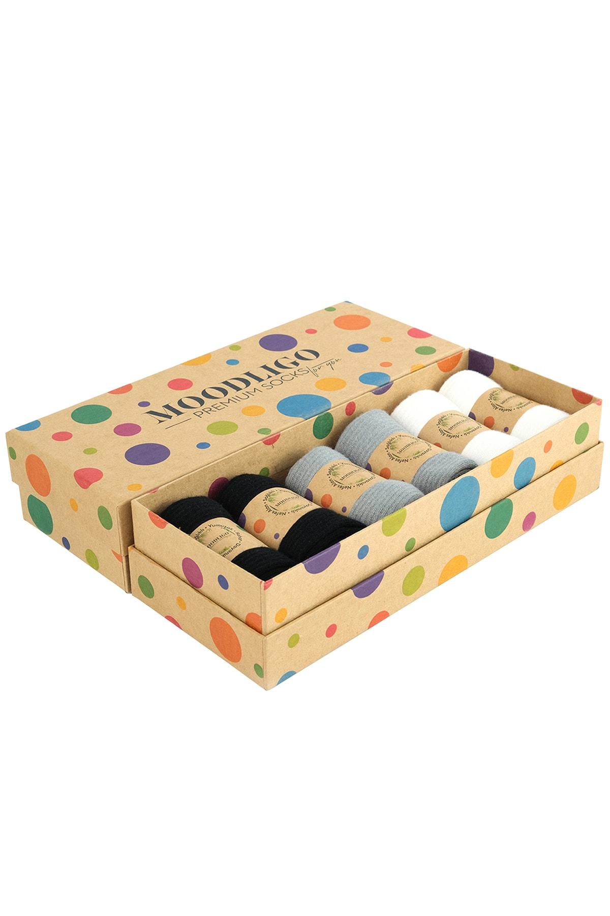 Moodligo Premium 6'lı Bambu Kadın Tenis Çorap - 2 Siyah 2 Gri 2 Beyaz 1