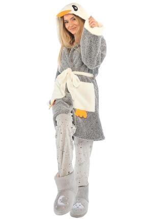 Zeynep Tekstil Kadın Gri Penguen Nakışlı Kapüşonlu Wellsoft Peluş Sabahlık
