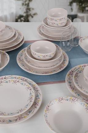 Keramika İlkbahar Çiçekleri Yemek Takımı 24 Parça 6 Kişilik