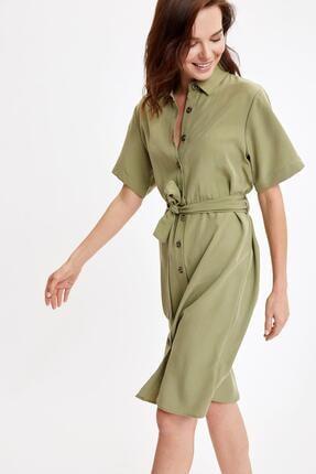DeFacto Beli Kuşaklı Uzun Kollu Liyosel Elbise