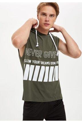 DeFacto Slim Fit Baskılı Kapüşonlu Kolsuz Tişört