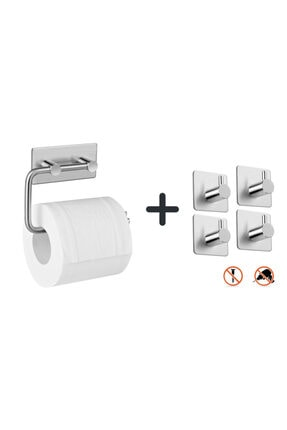 DELTAHOME Paslanmaz Çelik Tuvalet Kağıtlığı Standı + 4 Askılık - Yapışkanlı Sistem - Vida Yok! Inox