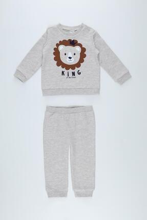 DeFacto Erkek Bebek Aslan Baskılı 3d Boyutlu Sweatshirt Ve Jogger Eşofman Altı