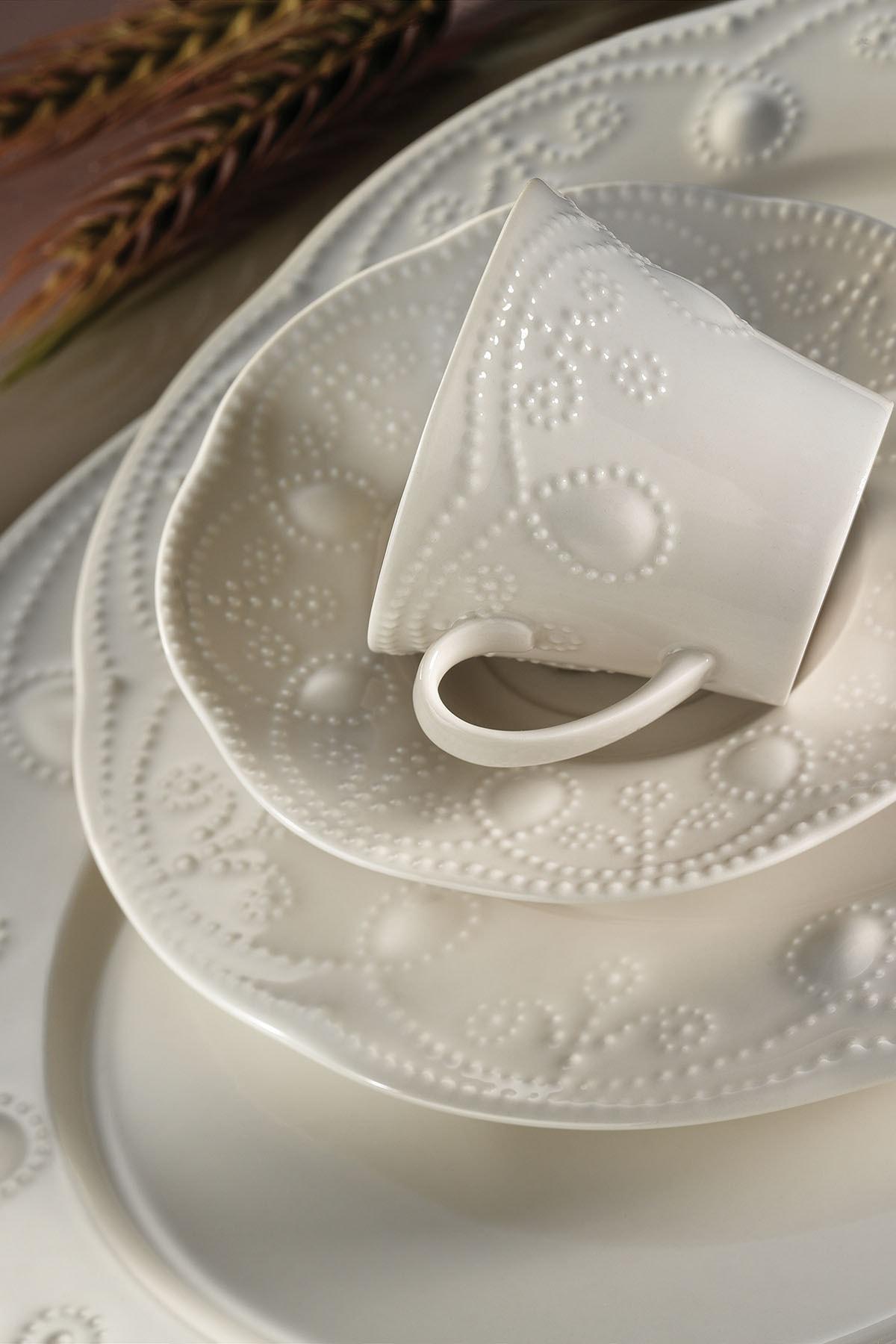 Kütahya Porselen Fulya Krem 24 Parça Yemek Seti 1