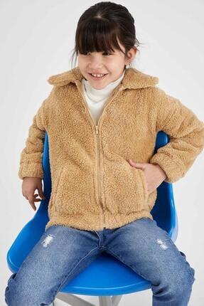 DeFacto Kız Çocuk Peluş Fermuarlı Hırka
