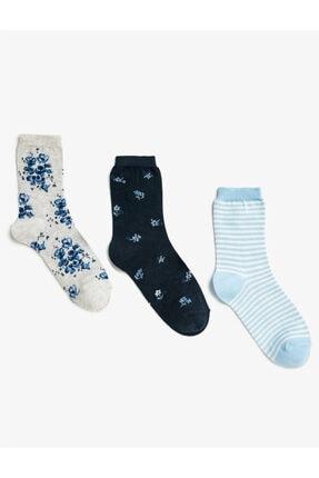 Koton Kadın Siyah Çiçekli Çizgili Çorap Seti Pamuklu 3'lü Set