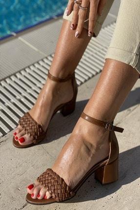 İnan Ayakkabı KadınTek Bant Ince Örgü Bilekli Topuklu Ayakkabı