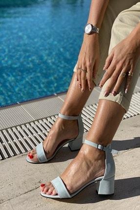 İnan Ayakkabı Kadın Mavi Tek Bant Bilekli Topuklu Ayakkabı