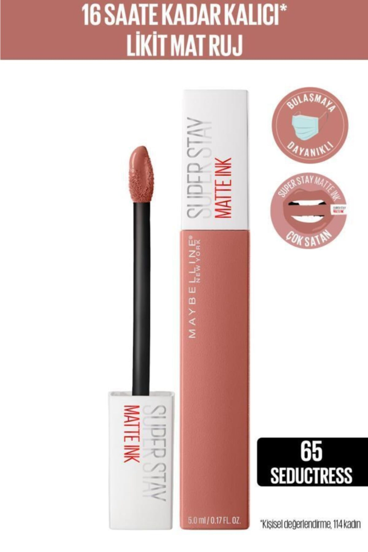 Maybelline New York Super Stay Matte Ink Unnude Likit Mat Ruj - 65 Seductress - Nude 1