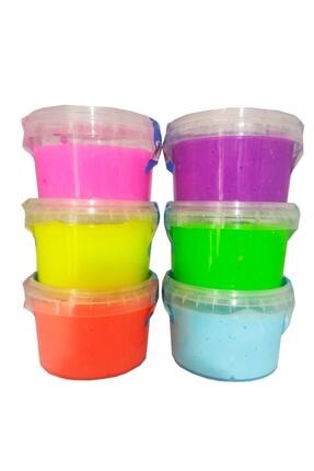 Erbek Plastik Slime Oyun Jeli Yuvarlak Kutu Yumtoys Polymer Slime Eğitici Oyun Seti 6'lı Set 170 gr.hsx