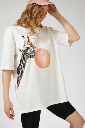 Happiness İst. Kadın Ekru Baskılı Oversize Uzun  T-shirt ZV00089