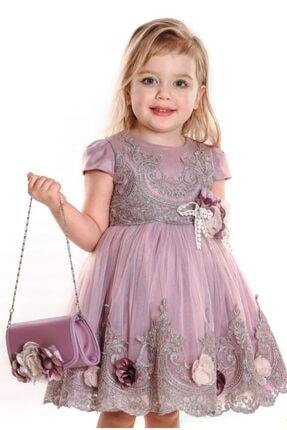 Milo Kız Bebek Lila Çiçekli Çantalı Abiye Elbise
