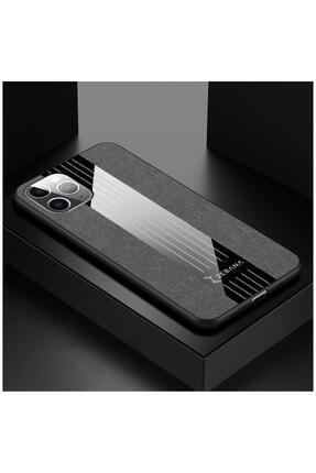 Dara Aksesuar Iphone 11 Pro Uyumlu Gri Elegan Kumaş Telefon Kılıfı
