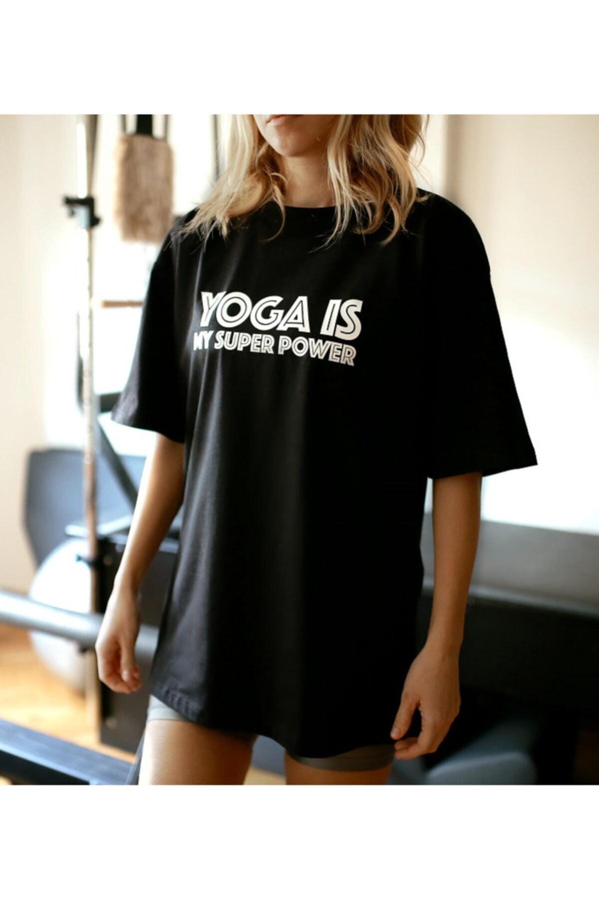 Soul True Kadın Siyah %100 Pamuk Bisiklet Yaka Oversize Boyfriend Yarım Kollu Yoga T-shirt 2