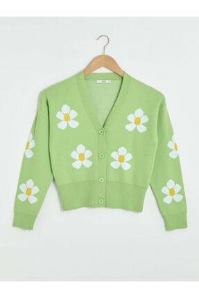 LC Waikiki Kadın Yeşil Çiçekli Hırka XSIDE Koleksiyonu