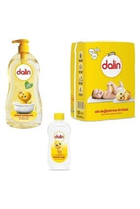 Dalin Bebek Şampuanı 700 ml + Bakım Örtüsü 10 Adet + Bebek Yağı 300ml