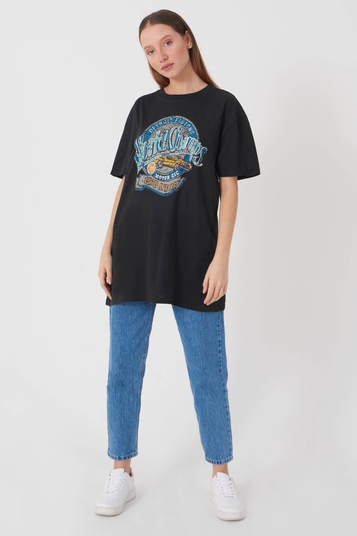 Addax Kadın Füme Baskılı T-Shirt P9422 - W7 Adx-0000022146 2