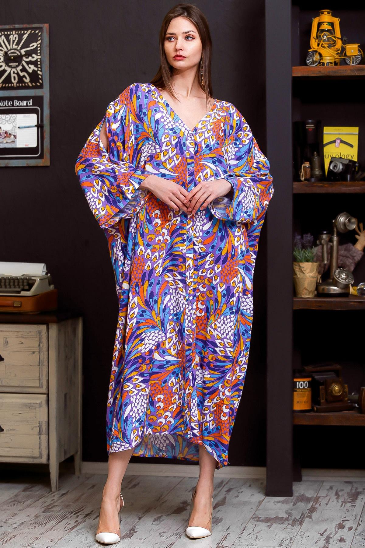 Chiccy Kadın Lila Tavus Kuşu Tüy Desenli Omuzları Pencereli Düğme Detaylı Salaş Uzun Dokuma Elbise