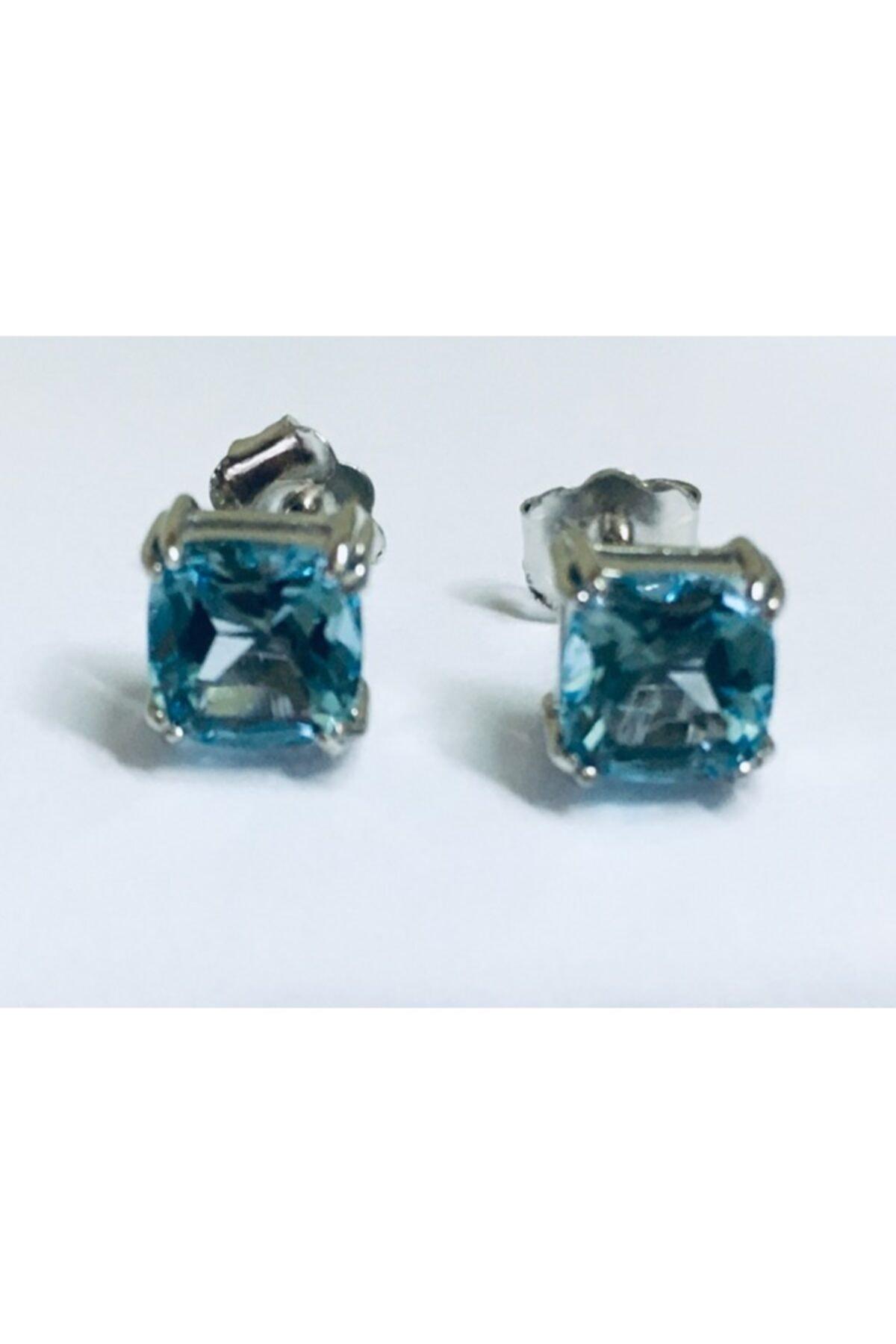 ALTAŞ KUYUMCULUK Gerçek Blue Topaz Tek Taş Gümüş Küpe 1