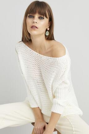 Zarifsin Kadın Ekru Salaş Triko Bluz