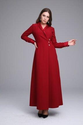 Senna Design Kadın Kırmızı Düğme Detaylı Uzun Elbise