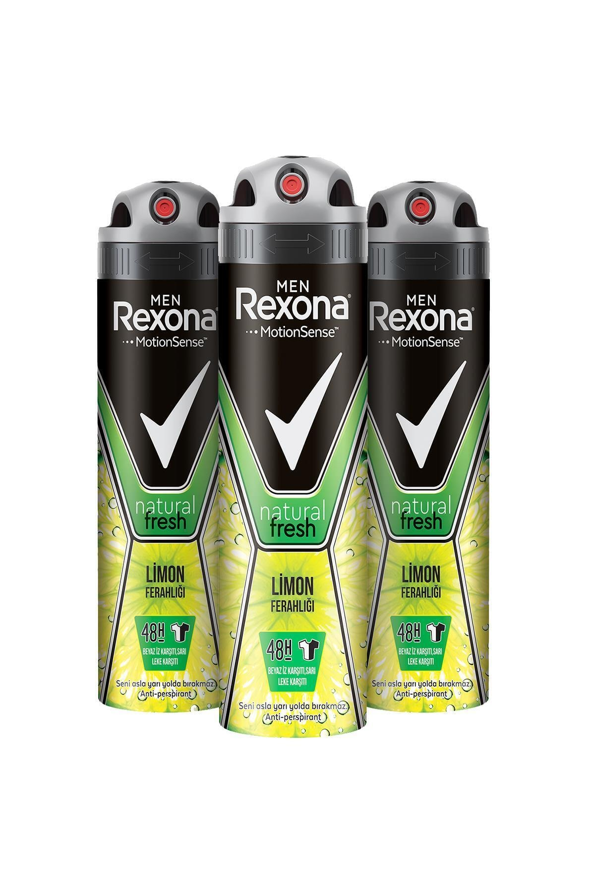 Rexona Men Natural Fresh Limon Ferahlığı Erkek Sprey Deodorant 150 ml x3 1