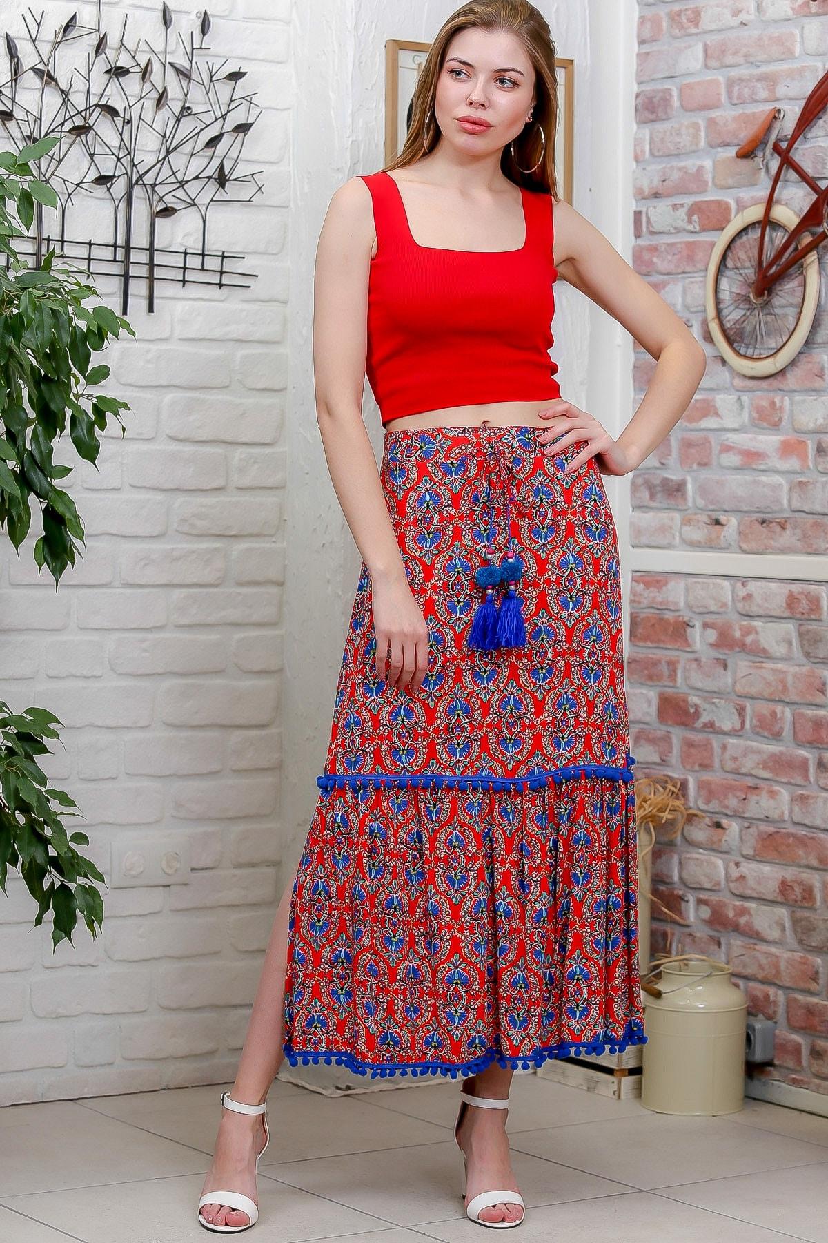 Chiccy Kadın Kırmızı Ottoman Desenli Püskül Detaylı Dokuma Etek M10110000ET99288