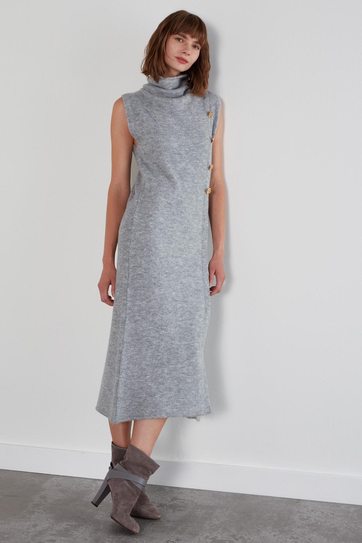 JOIN US Düğmeli Kolsuz Degaje Yaka Triko Elbise - Gri 2