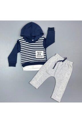 Popolin Erkek Bebek Mavi Çizgili Kapüşonlu 2 li Takım