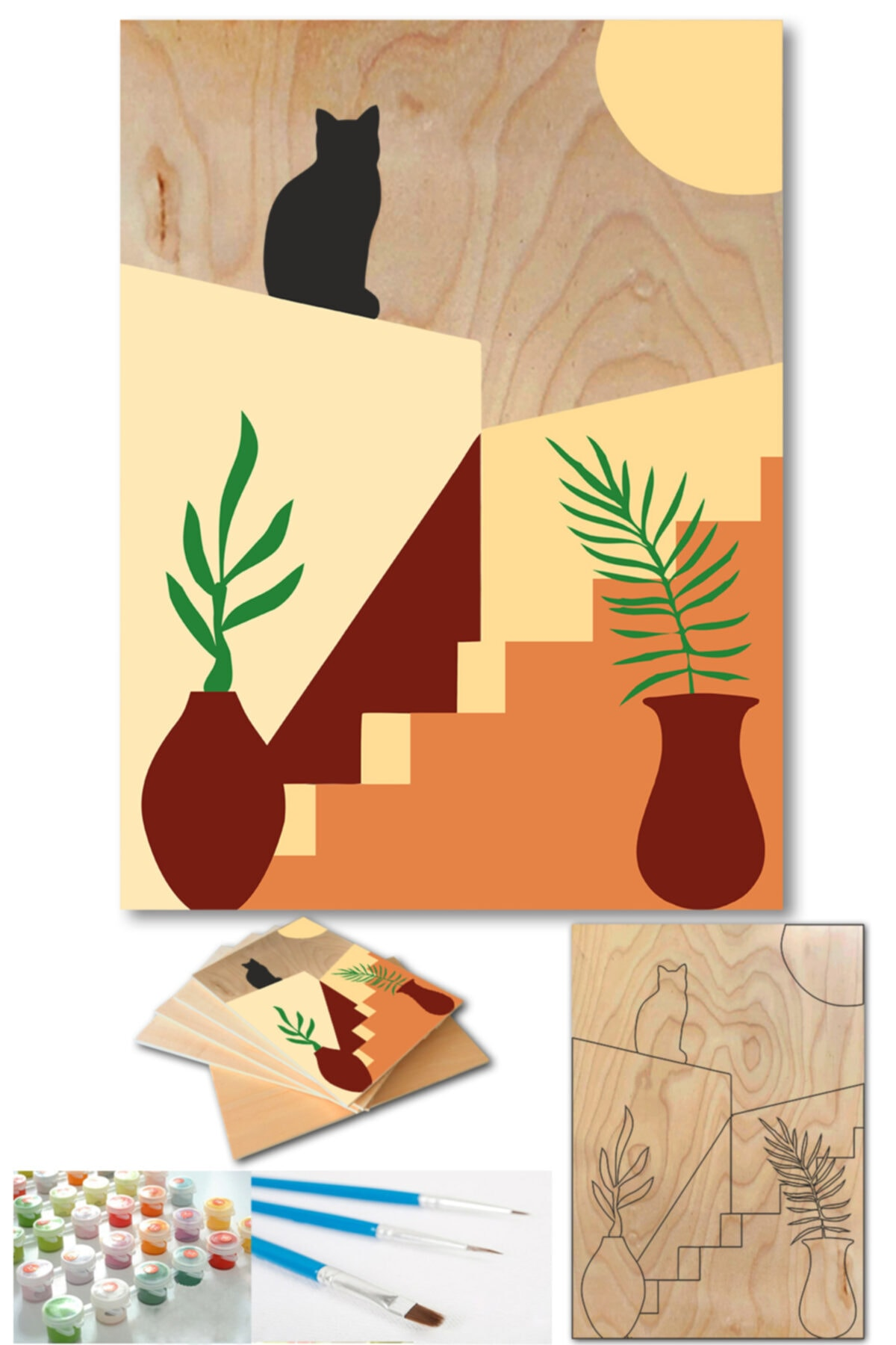 Lapis Home Decor Minimalist Bodrum Evler 3'lü Tablo Sayılarla Ahşap Boyama Set Hobi Seti 35x50 Cm 2