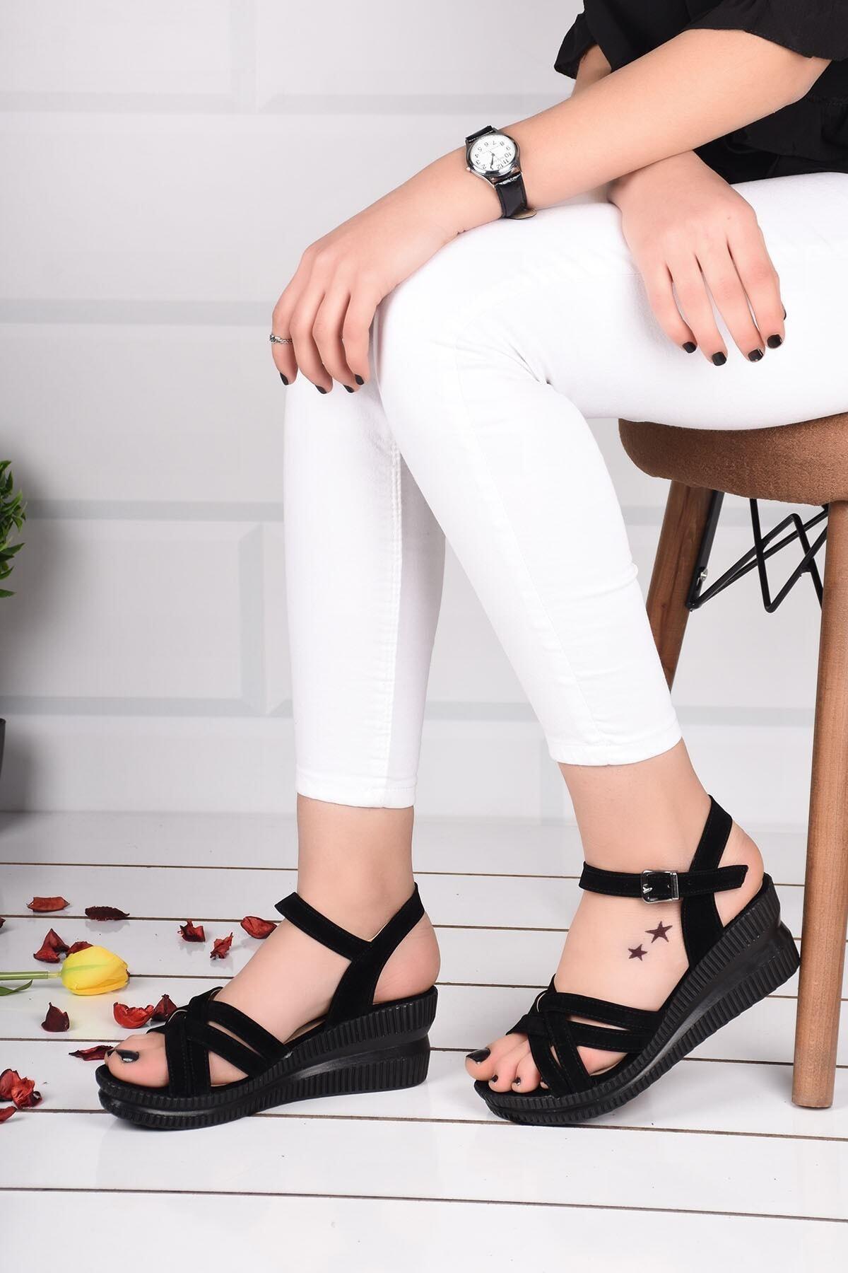 mihra home Kadın Topuklu Sandalet Terlik Siyah Süet Bilekten Bağlamalı 1