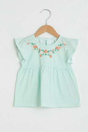 LC Waikiki Kız Bebek Turkuaz Çizgili Ljq T-Shirt