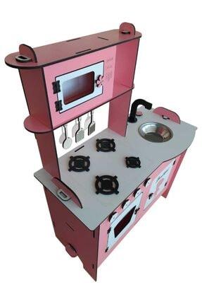 EMRİN AHŞAP OYUNCAK VE HEDİYELİK EŞYA Sürpriz Hediyeli Ahşap Oyuncak Büyük Mutfak Kız Çocuk Oyun Mutfak Seti-montessori