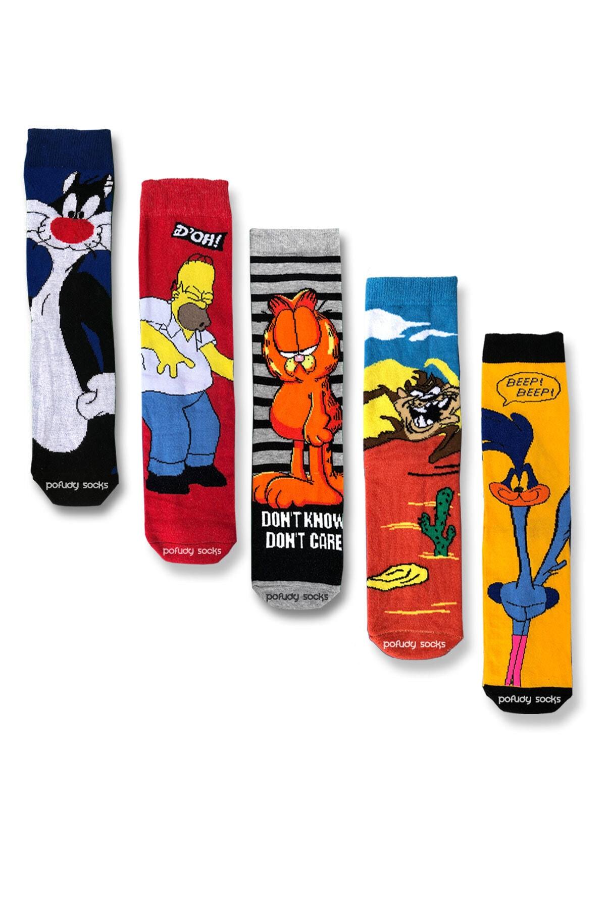Pofudy Socks Trend Çizgi Film Karakterleri 2 Çorap Seti 1