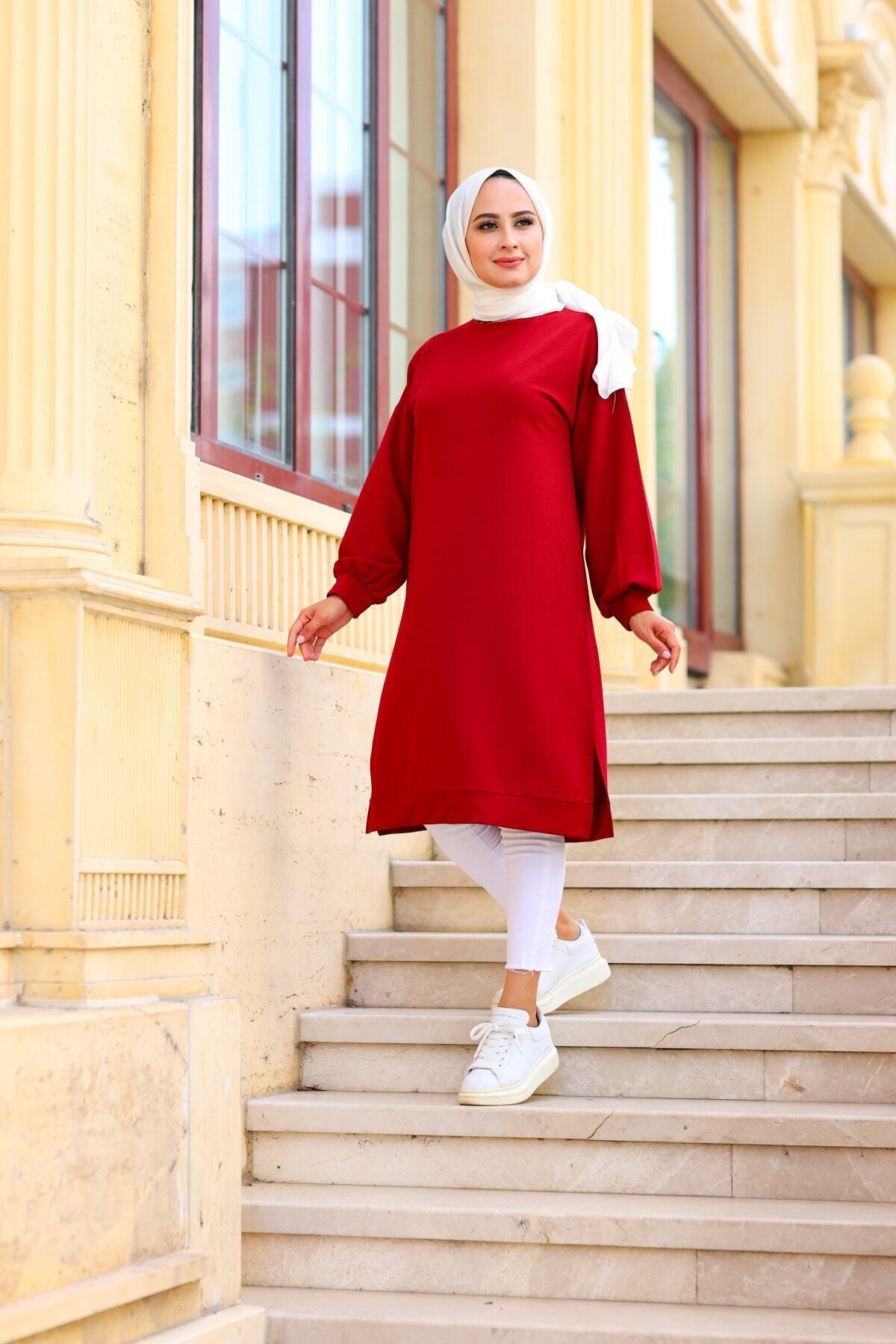 Moylin Kadın Kırmızı Yanları Yırtmaçlı Tunik 1483 2