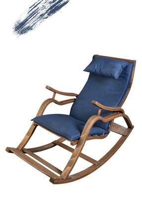 TOKKO Oslo Ahşap Formlu Sallanan Sandalye - Dinlenme Kitap Okuma Tv Koltuğu Mavi