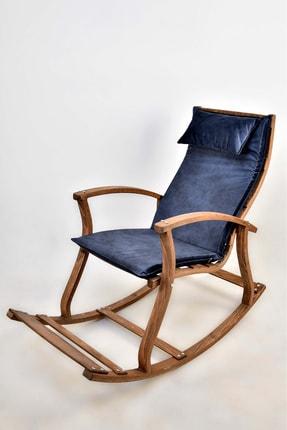 TOKKO Lucca Ahşap Formlu Sallanan Sandalye - Dinlenme Kitap Okuma Tv Koltuğu Mavi